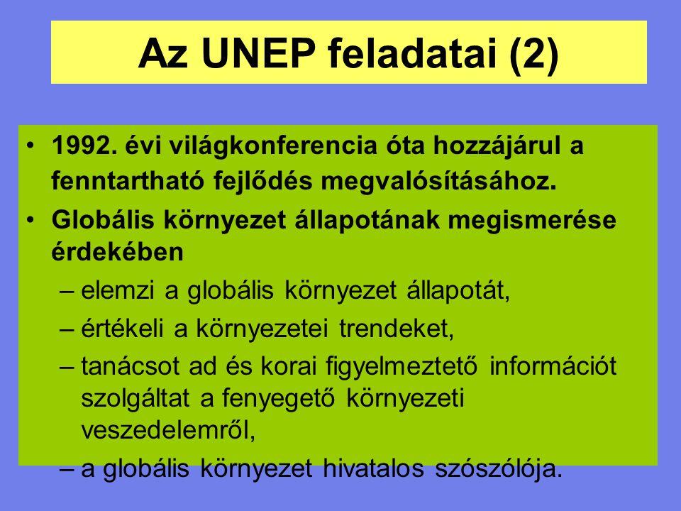 Az UNEP feladatai (2) 1992. évi világkonferencia óta hozzájárul a fenntartható fejlődés megvalósításához.