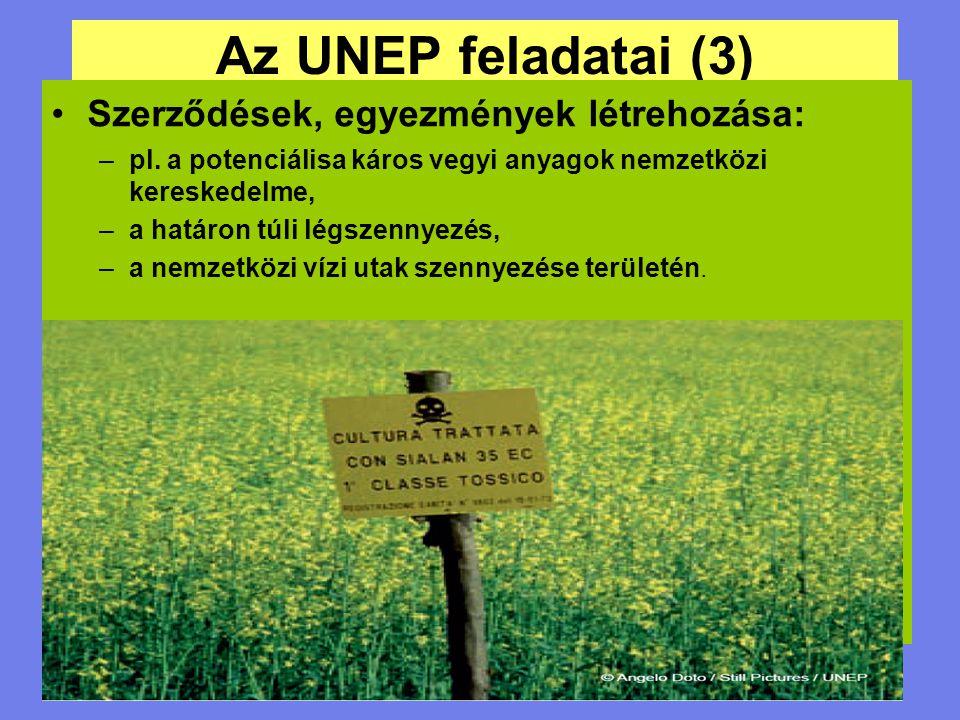 Az UNEP feladatai (3) Szerződések, egyezmények létrehozása: