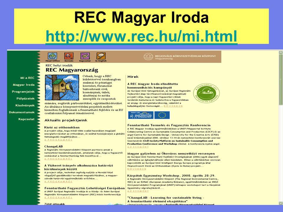 REC Magyar Iroda http://www.rec.hu/mi.html