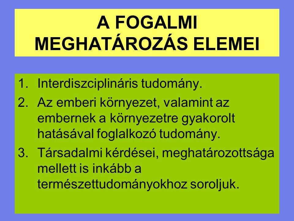 A FOGALMI MEGHATÁROZÁS ELEMEI