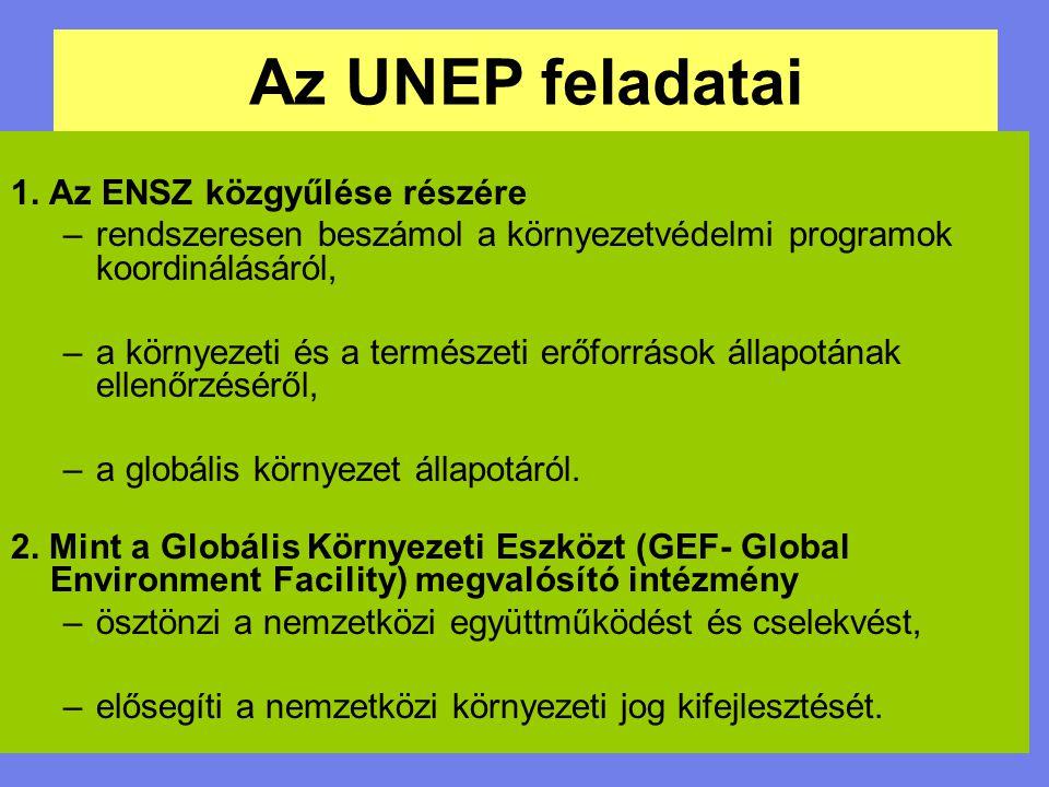 Az UNEP feladatai 1. Az ENSZ közgyűlése részére