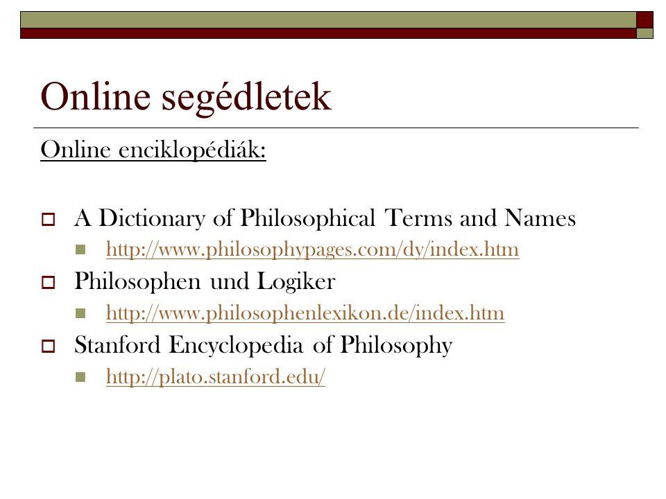 Online segédletek Online enciklopédiák: