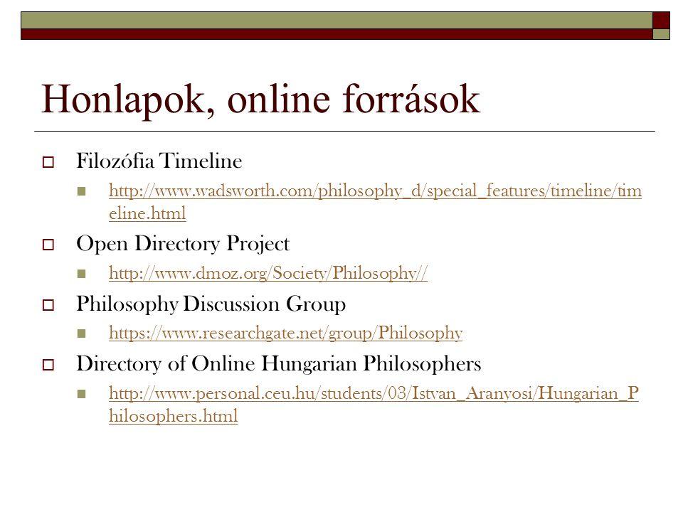 Honlapok, online források