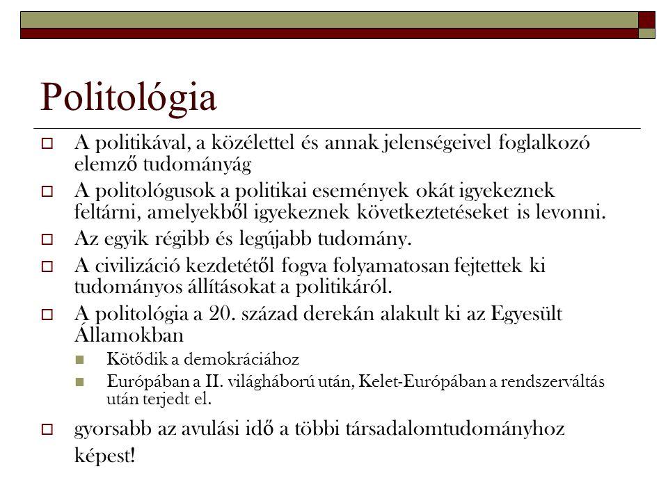 Politológia A politikával, a közélettel és annak jelenségeivel foglalkozó elemző tudományág.