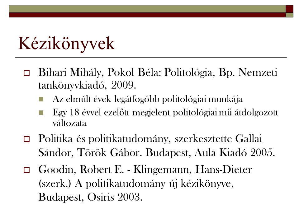 Kézikönyvek Bihari Mihály, Pokol Béla: Politológia, Bp. Nemzeti tankönyvkiadó, 2009. Az elmúlt évek legátfogóbb politológiai munkája.
