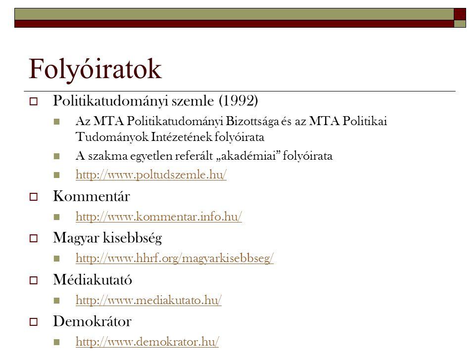 Folyóiratok Politikatudományi szemle (1992) Kommentár Magyar kisebbség