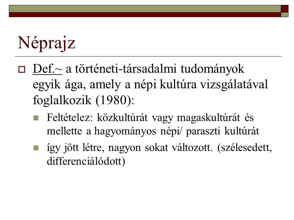 Néprajz Def.~ a történeti-társadalmi tudományok egyik ága, amely a népi kultúra vizsgálatával foglalkozik (1980):