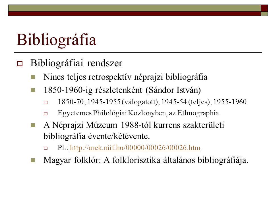 Bibliográfia Bibliográfiai rendszer