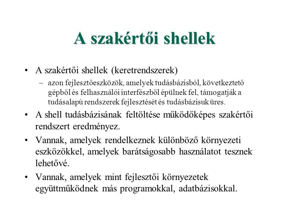 A szakértői shellek A szakértői shellek (keretrendszerek)