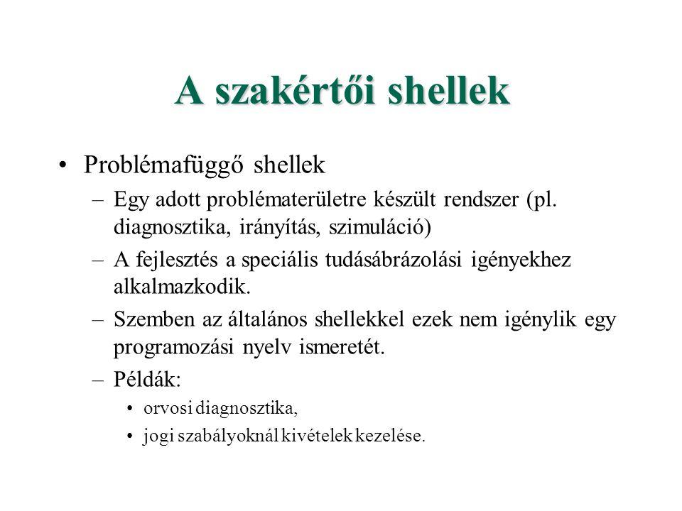 A szakértői shellek Problémafüggő shellek