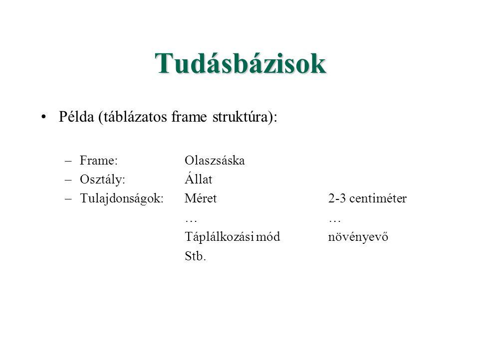 Tudásbázisok Példa (táblázatos frame struktúra): Frame: Olaszsáska