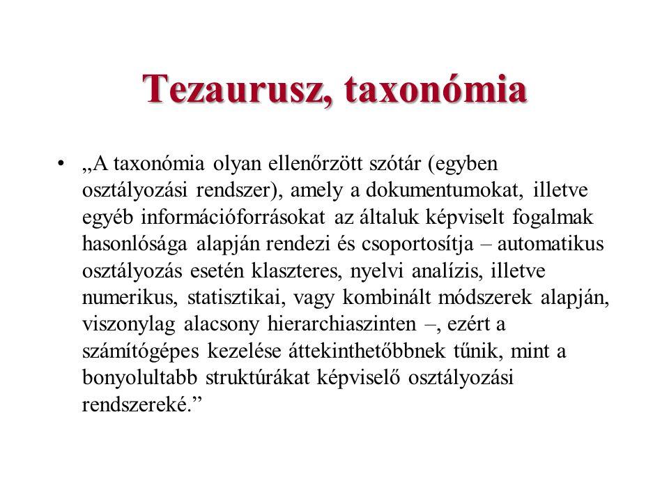 Tezaurusz, taxonómia