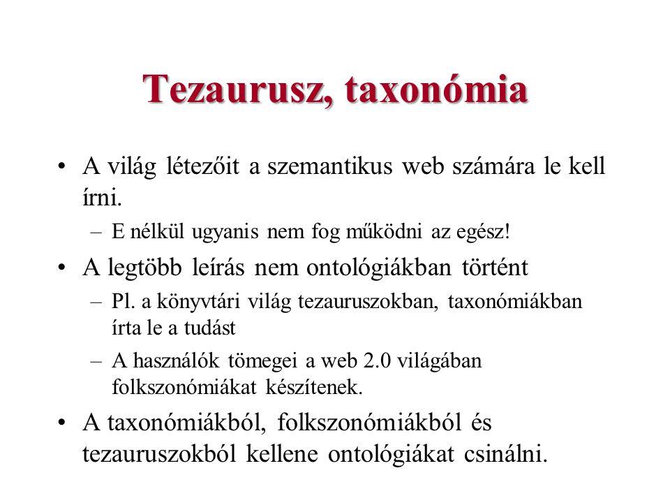 Tezaurusz, taxonómia A világ létezőit a szemantikus web számára le kell írni. E nélkül ugyanis nem fog működni az egész!