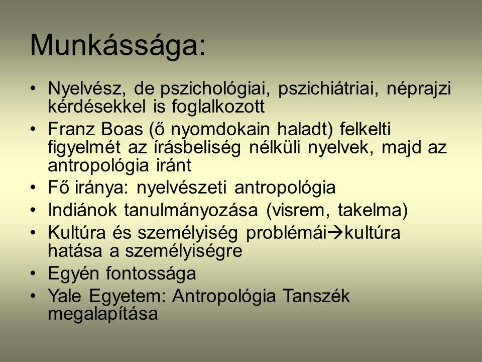 Munkássága: Nyelvész, de pszichológiai, pszichiátriai, néprajzi kérdésekkel is foglalkozott.