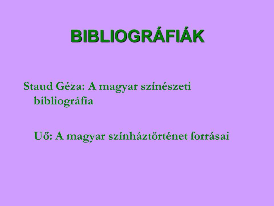 BIBLIOGRÁFIÁK Staud Géza: A magyar színészeti bibliográfia
