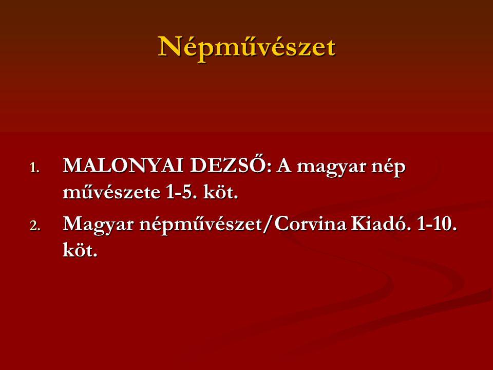 Népművészet MALONYAI DEZSŐ: A magyar nép művészete 1-5. köt.