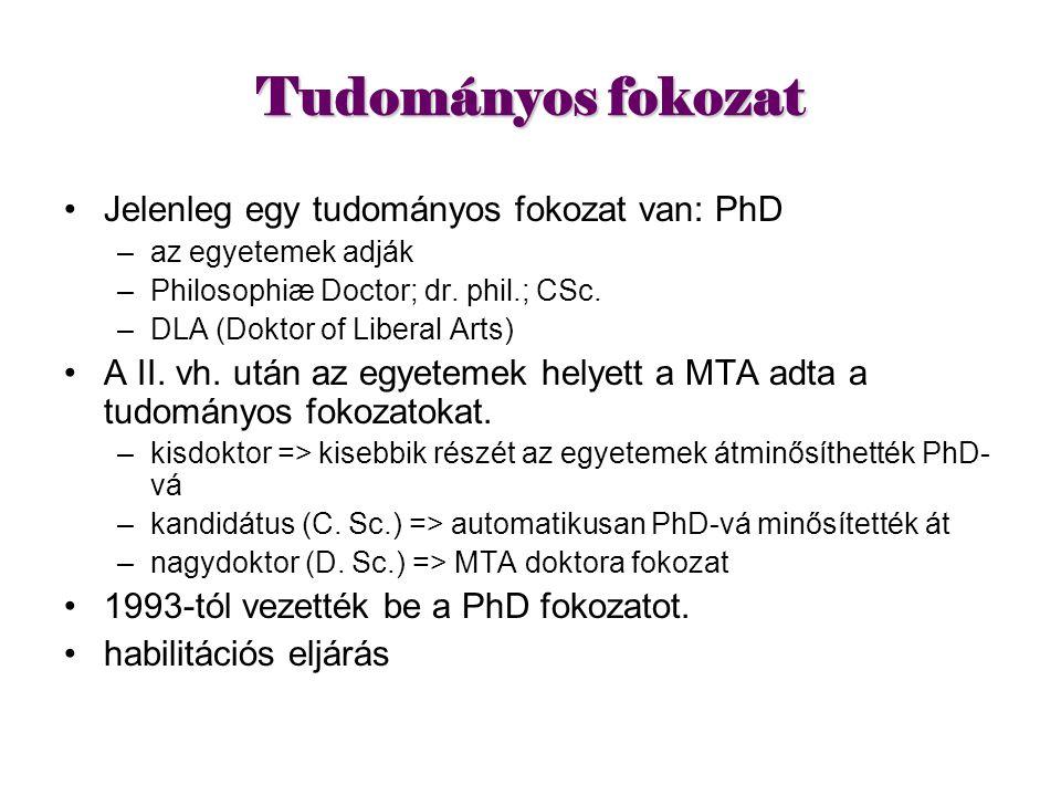 Tudományos fokozat Jelenleg egy tudományos fokozat van: PhD