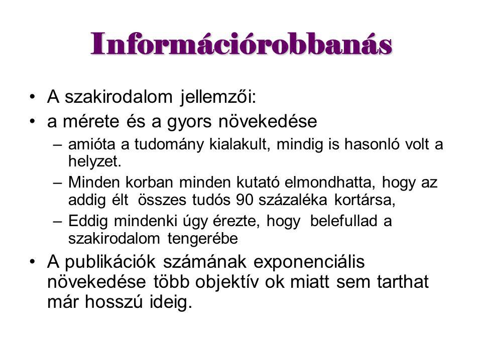 Információrobbanás A szakirodalom jellemzői: