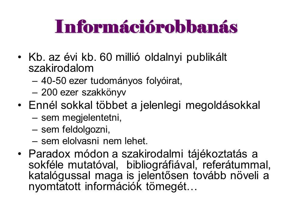 Információrobbanás Kb. az évi kb. 60 millió oldalnyi publikált szakirodalom. 40-50 ezer tudományos folyóirat,