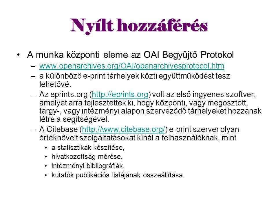 Nyílt hozzáférés A munka központi eleme az OAI Begyűjtő Protokol