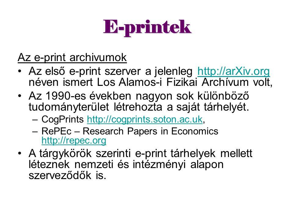 E-printek Az e-print archivumok