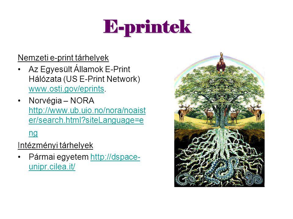 E-printek Nemzeti e-print tárhelyek