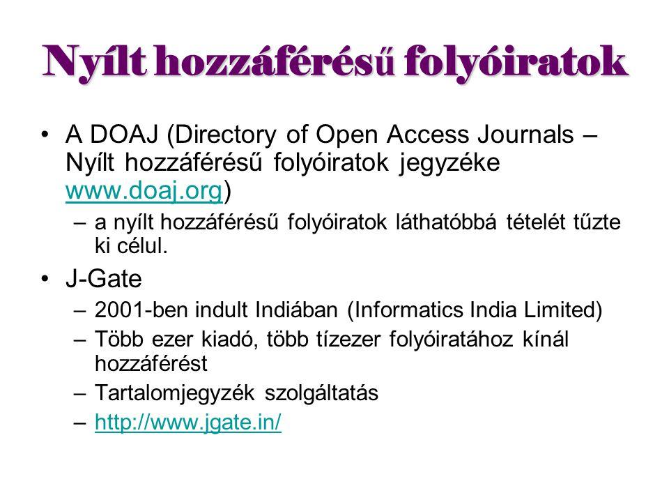 Nyílt hozzáférésű folyóiratok