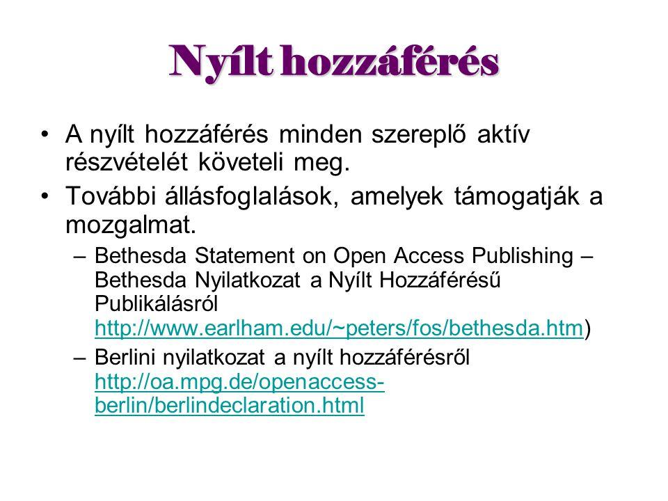 Nyílt hozzáférés A nyílt hozzáférés minden szereplő aktív részvételét követeli meg. További állásfoglalások, amelyek támogatják a mozgalmat.