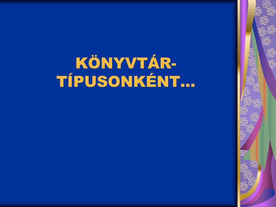 KÖNYVTÁR-TÍPUSONKÉNT…