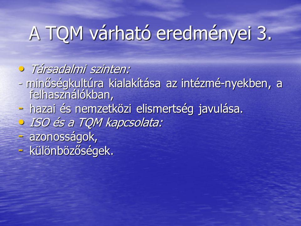 A TQM várható eredményei 3.