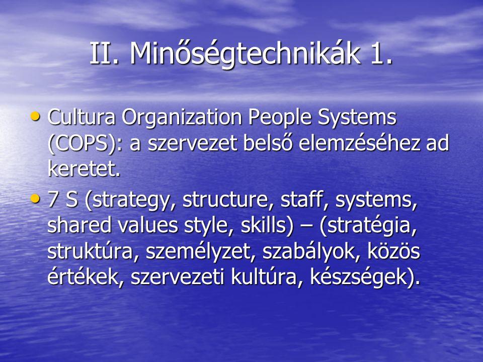 II. Minőségtechnikák 1. Cultura Organization People Systems (COPS): a szervezet belső elemzéséhez ad keretet.