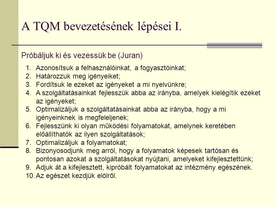 A TQM bevezetésének lépései I.