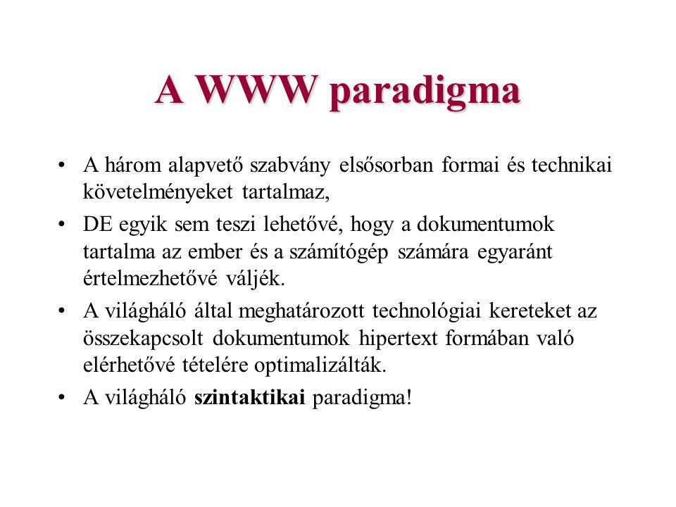A WWW paradigma A három alapvető szabvány elsősorban formai és technikai követelményeket tartalmaz,