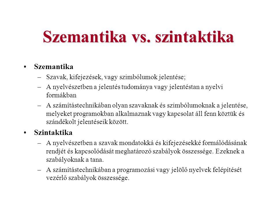 Szemantika vs. szintaktika