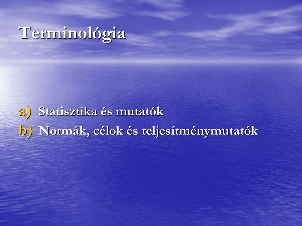 Terminológia Statisztika és mutatók