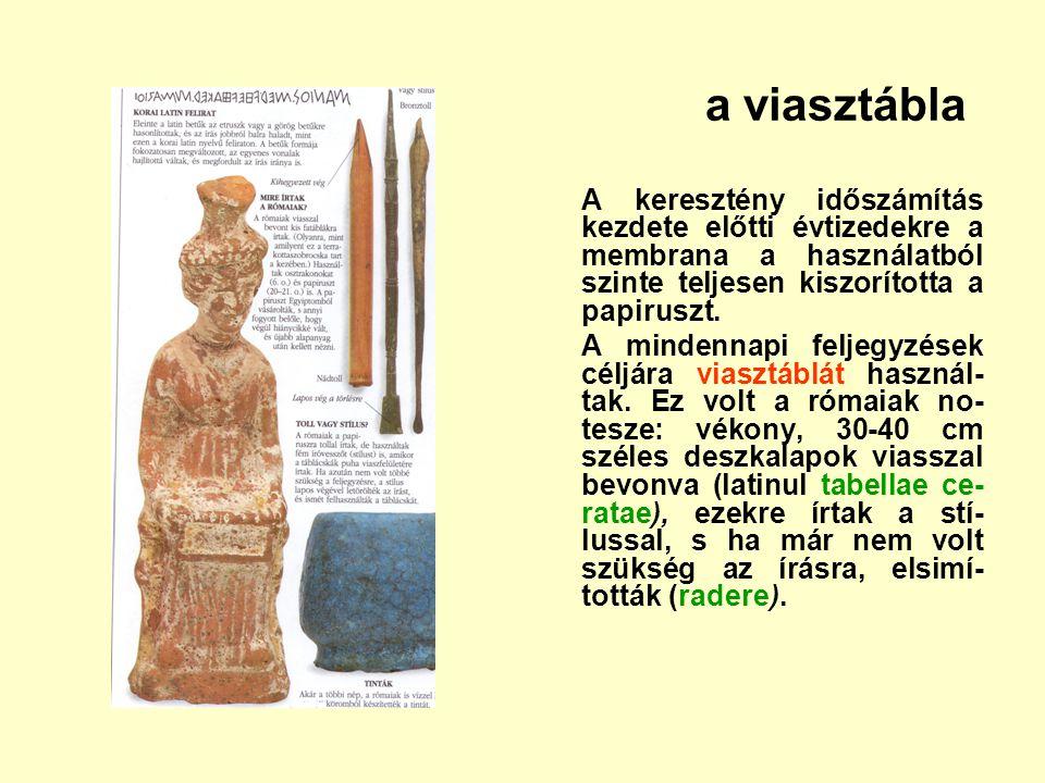 a viasztábla A keresztény időszámítás kezdete előtti évtizedekre a membrana a használatból szinte teljesen kiszorította a papiruszt.