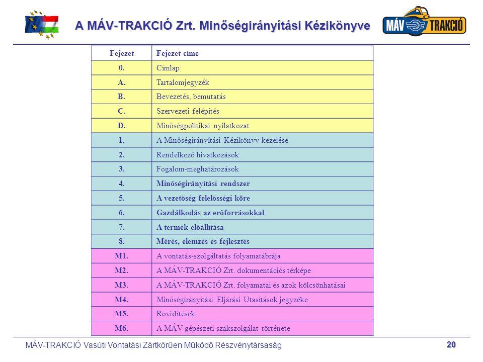 A MÁV-TRAKCIÓ Zrt. Minőségirányítási Kézikönyve