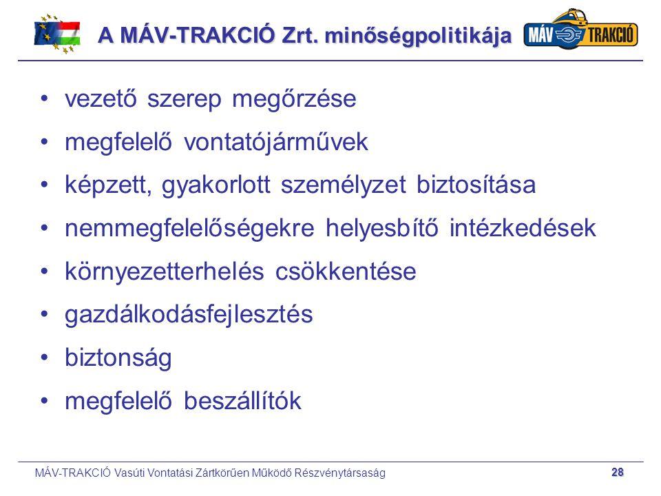 A MÁV-TRAKCIÓ Zrt. minőségpolitikája