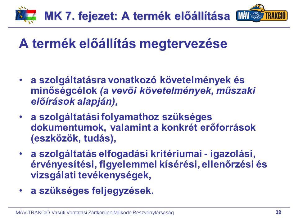MK 7. fejezet: A termék előállítása