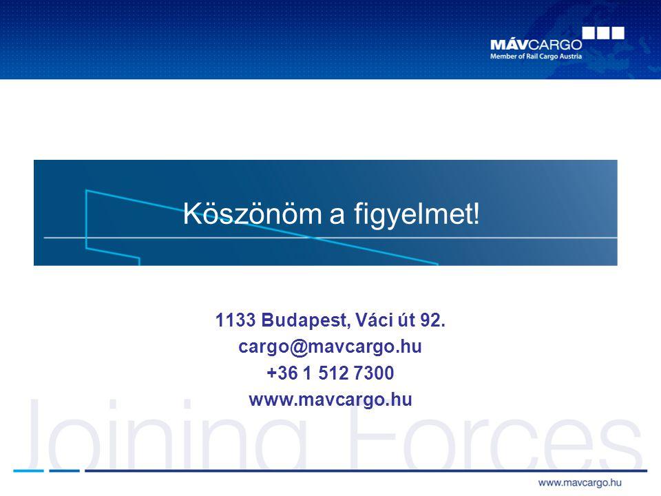 Köszönöm a figyelmet! 1133 Budapest, Váci út 92. cargo@mavcargo.hu