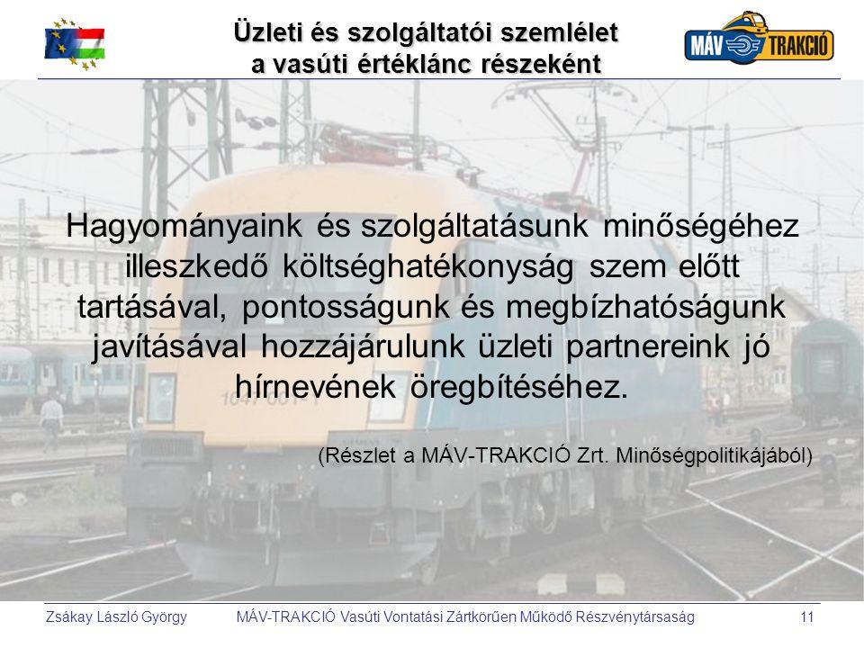 Üzleti és szolgáltatói szemlélet a vasúti értéklánc részeként