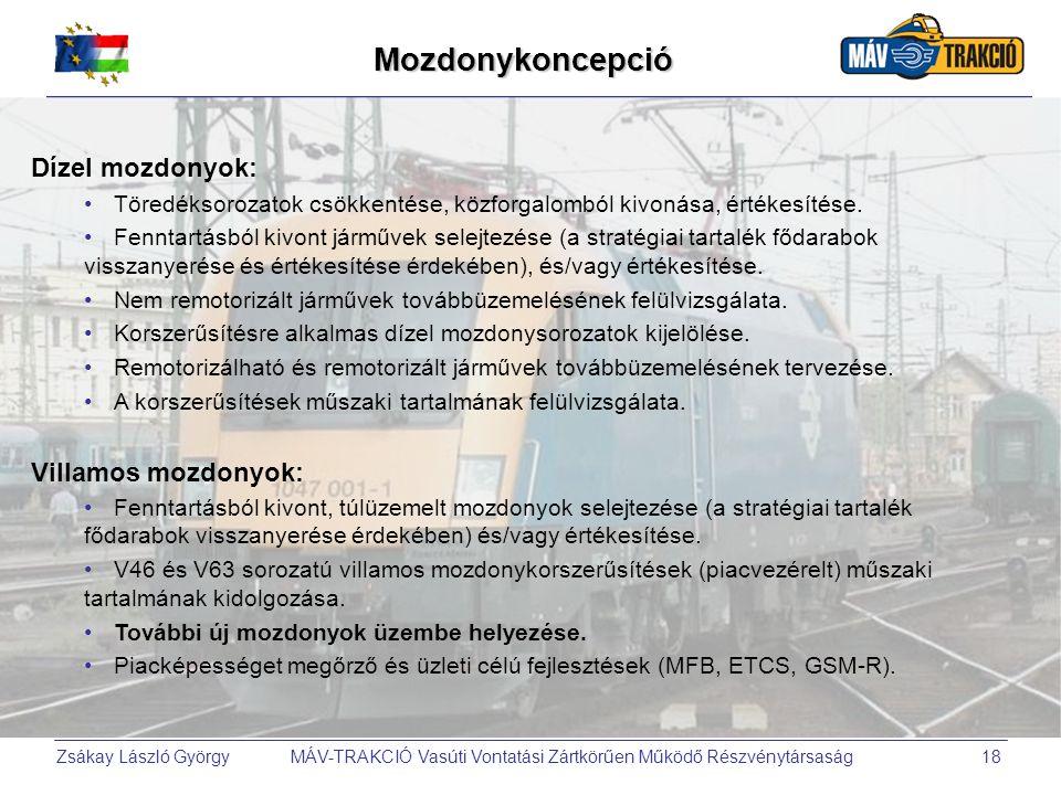 Mozdonykoncepció Dízel mozdonyok: Villamos mozdonyok: