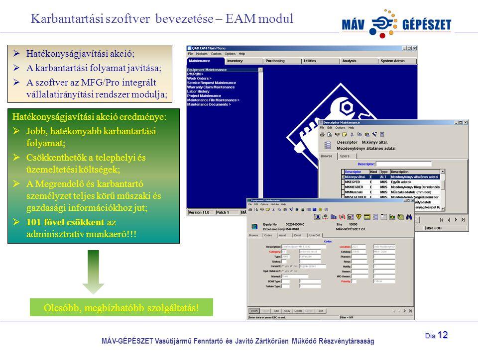 Karbantartási szoftver bevezetése – EAM modul