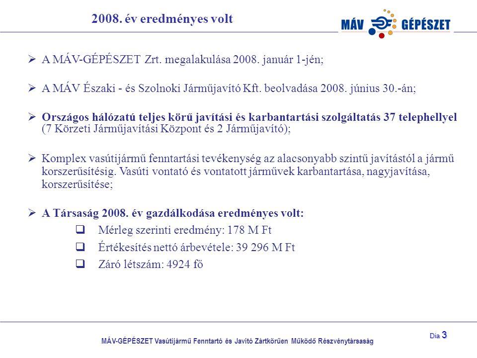2008. év eredményes volt A MÁV-GÉPÉSZET Zrt. megalakulása 2008. január 1-jén;