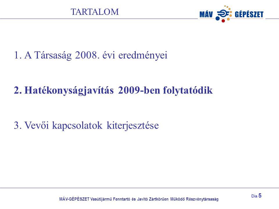 A Társaság 2008. évi eredményei