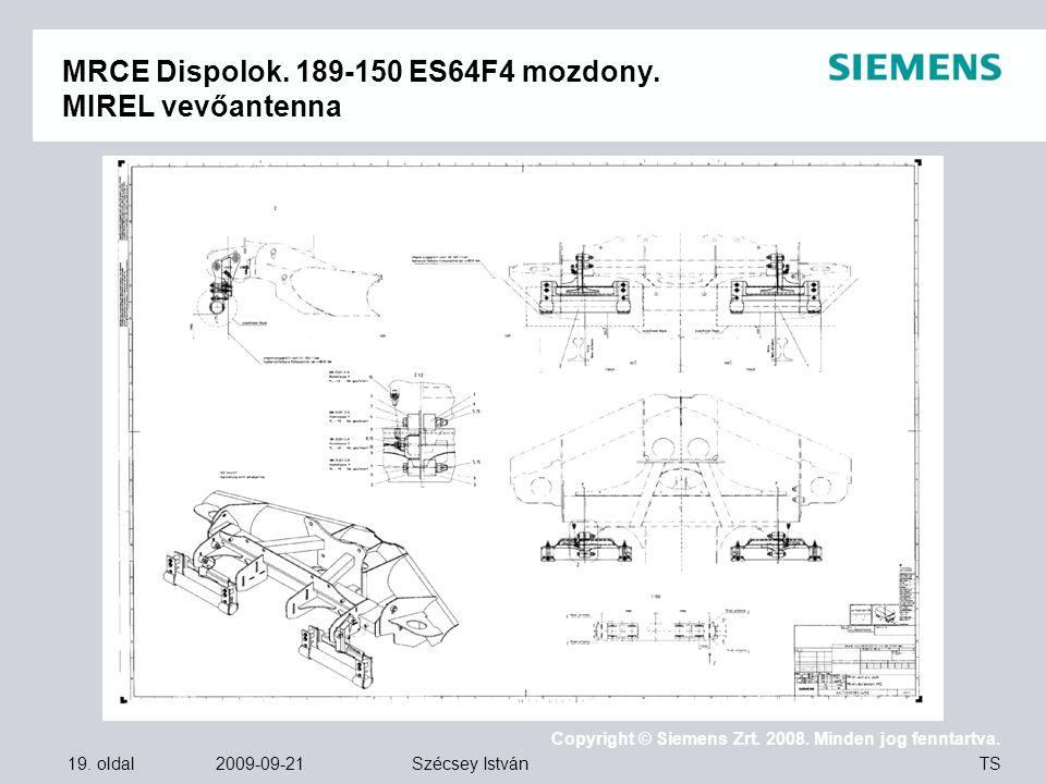 MRCE Dispolok. 189-150 ES64F4 mozdony. MIREL vevőantenna