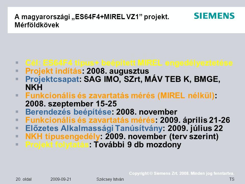 """A magyarországi """"ES64F4+MIREL VZ1 projekt. Mérföldkövek"""