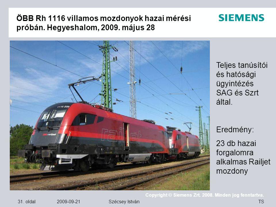 ÖBB Rh 1116 villamos mozdonyok hazai mérési próbán. Hegyeshalom, 2009