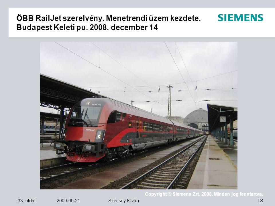 ÖBB RailJet szerelvény. Menetrendi üzem kezdete. Budapest Keleti pu