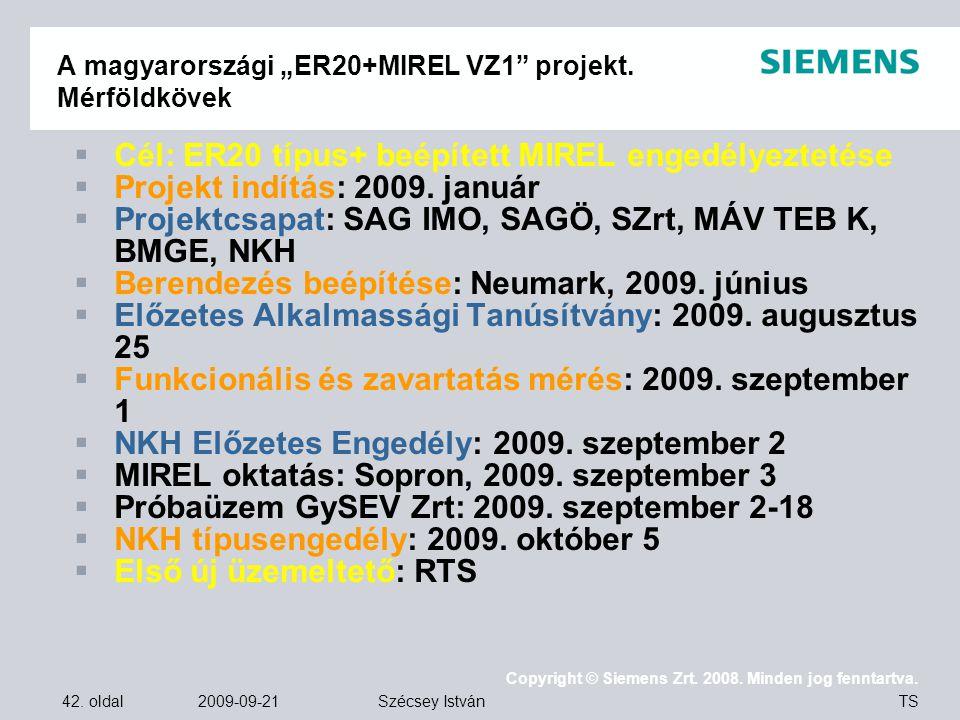"""A magyarországi """"ER20+MIREL VZ1 projekt. Mérföldkövek"""